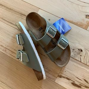 NEW Birkenstock Arizona Khaki Green White Sz. 38